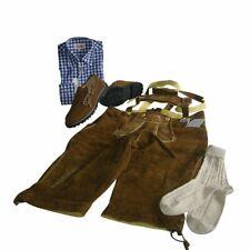 Trachten-Set 4-teilig Kniebundhose Gr. 54 nuss Hemd blau Haferlschuhe & Socken