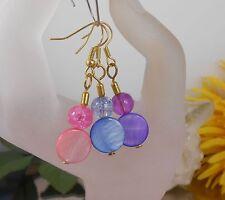 Ohrhänger aus Perlmutt Muschelperlen + Crackle Glas Farbwahl Lila Rosa Hellblau