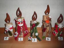 Kerzen aus Birkenstämmchen mit Rosti-Flamme, Holz, Natur