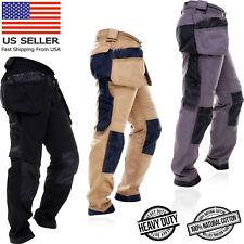Mens WorkWear Trousers Cargo Combat Cordura Knee Reinforcement Utility Work Pant