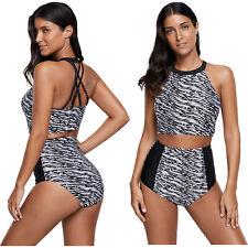Monochrome print acento cintura alta tankini traje de baño bikini mujer
