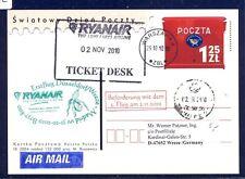 44372) Irland Ryanair FF Madrid - DD/Weeze 31.10.10, feeder mail Polen stat.card