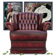Chesterfield Stuhl Armlehnstuhl Sessel Knopfheftung rot