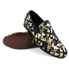 f3896ead973 ÃZARMAN Men s Slip On Velvet Black   Gold Leopard Print Dress Shoes Loafers  LS21
