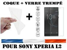 LOT Coque Gel Etui Housse Silicone Sony Xperia L2 + Film Verre Trempé