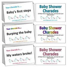 Charades-Baby Shower Party Game-Boy bleu, fille rose, neutre Rainbow Unisexe