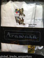NEW ARAWAZA WHITE ADULT WKF KARATE SUIT TOP QUALITY GI UNIFORM MIDDLEWEIGHT 10oz