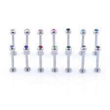 Crystal Gem Cheek Labret Bar Long Labret Dimple Barbell Piercing Stud