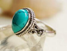 Handarbeit Ring Silber Türkis 56 57 58 61 Silberring Vintage Tropfen Verspielt
