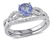 1.00 Carat (ctw) Tanzanite Engagement Ring Wedding Set 10K Gold
