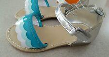 NWt Gymboree Toddler Girls SIZE 4 7 8 Sandals TIDE POOL Aqua Silver White #32516