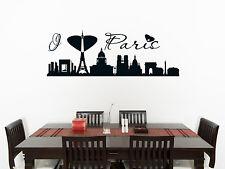 Paris France Skyline salon salle à manger chambre Decal Mur Art Autocollant photo 1