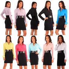New Ladies 2in1 Office Wear Dress Belated Stripy Skirt Mini Skirt Pencil Dress