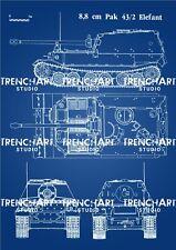 Elefant Tank Poster WW2 German wehrmacht patent print military reenactor vintage