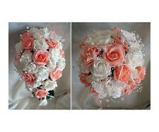 Brides,Demoiselles d'honneur Fleurs Bouquet De Mariage Pêche/Ivoire/Blanc