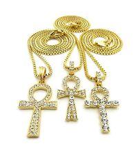 "Triple Ankh Cross Pendant 18"",20"",24"",27"",30"" Box Chain 3 Necklace Set RC2086G"