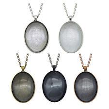 Oval Metal Bezel Frame Glass Dome Cabochon Pendant Necklace DIY Jewelry Crafts