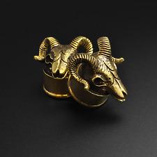 Tapones para oídos Camilla De Latón | Diseño De Calavera Ram | 8mm - 16mm | plomo y níquel libre