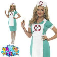 Ladies Scrub Nurse Uniform Fancy Dress Costume Doctor Adult Hen Party Outfit