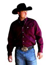 Cinch Western Shirt Mens Long Sleeve Square Button Burgundy MTW1104239