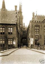 Tirage photo ancienne -  XIXe Ville de Bruges Brugge rue avec photographe