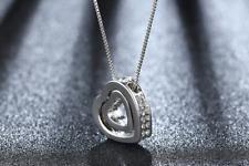 Halskette mit Anhänger Kette Silberkette Kristalle Geschenk zwei Herzen Liebe 1A