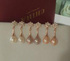 Rose Gold Waterdrop Cubic Zirconia Freshwater Pearl Snowflake Earrings Bride PE5
