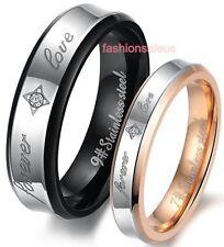 Stainless Steel FOREVER LOVE Men's Women's Couples Wedding Band Engagement Ring