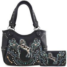 Justin West Horse Flower Stud Floral Conceal Carry Shoulder Handbag Purse