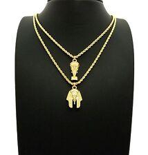 """Egypt Mini Nefertiti, Pharaoh Pendant 20"""",24"""" Rope Chain 2 Necklace Set RC2431G"""