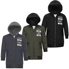 Kids Detach Hood Padded Jacket Teen Longline Bomber MA1 School Zip Up 3-14 Years