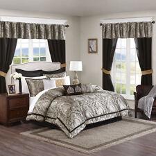 Beautiful Gold Black Damask Comforter Window Curtain 24 pcs set Cal King Queen