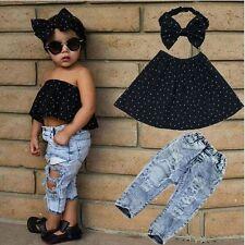 3pcs Toddler Infant Girls Outfits Headband+Tops+Denim Pants Kids Clothes Set