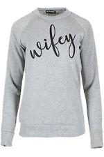 Womens Ladies Girls Fleece Slogan Wifey Jumper Sweatshirt Casual Pullover Top