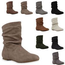 Damen Schlupfstiefel Lederoptik Stiefeletten Bequeme Schuhe 812201 Mode