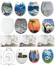 Di alta qualità stampato WC sedile stabili cerniere cromate in legno MDF Tavolette Del Water