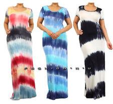 Plus Tie Dye Multi-Color Stripe Color Block Maxi Dress Summer Long Rayon Jersey