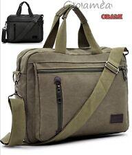 3228933531 borsa tela tracolla uomo donna vintage militare cuoio cotone canvas multi  tasche