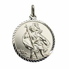 Engraveable Sterling Silver 20mm Diamond Cut St Christopher Pendant Chain Option