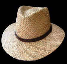 Men's Hat Natural Straw Traveller Straight Brim Fedora Sun Protection Hats