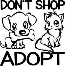 Don't Shop Adopt Decal Pet Rescue Animal Dog Cat Pets Window Bumper Sticker Car