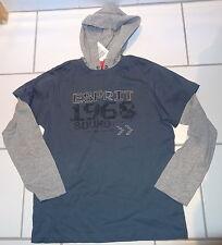 Sweatshirt 140/146 mit Kaputze Lagenoptik, Aufdruck rauchblau grau 100%Baumwolle