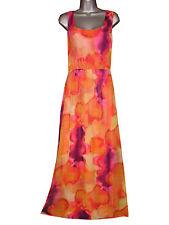 CURVACEOUS CLOTHING PLUS SIZE BURNT ORANGE/PINK TYE DYE PRINT CHIFFON MAXI DRESS