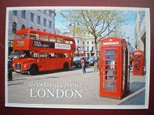 POSTCARD RP LONDON ROUTEMASTER BUS & REC ICONIC TELEPHONE BOX