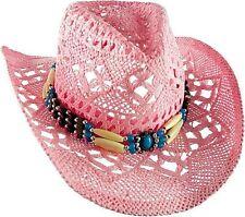 Strohhut Cowboyhut Westernhut Hut mit Hutband pink