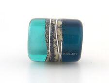 TEAL BLUEDINI Lampwork Glass Bead European Charm Tube Silvered Ivory Fine Silver