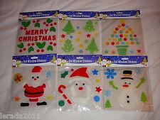 CHRISTMAS GEL WINDOW STICKERS SNOWMAN SANTA TREE  CUTE FESTIVE DECORATIONS