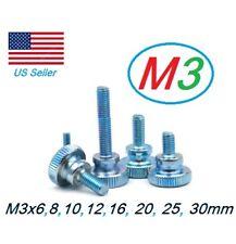 10pcs M3 Fully Threaded Knurled Thumb Screws Bolts 6mm 8,10, 12,16, 20, 25,30mm