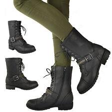 Bottines Femmes Plat A Lacet Militaire Combat Travailleur Motard
