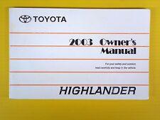 Highlander 03 2003 Toyota Owners Owner's Manual Genuine OEM Factory